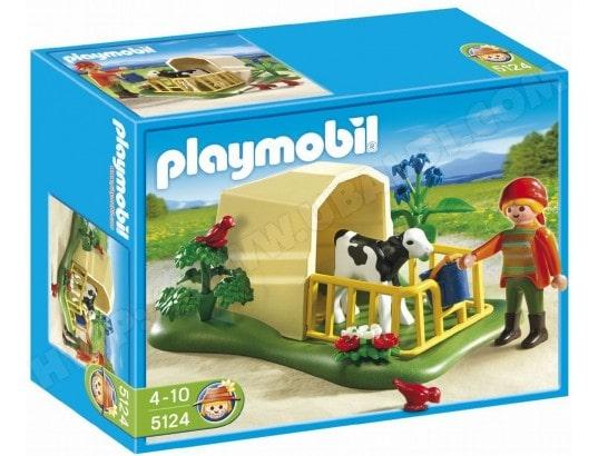 Jeu de construction PLAYMOBIL - Abri avec veau et fermiere